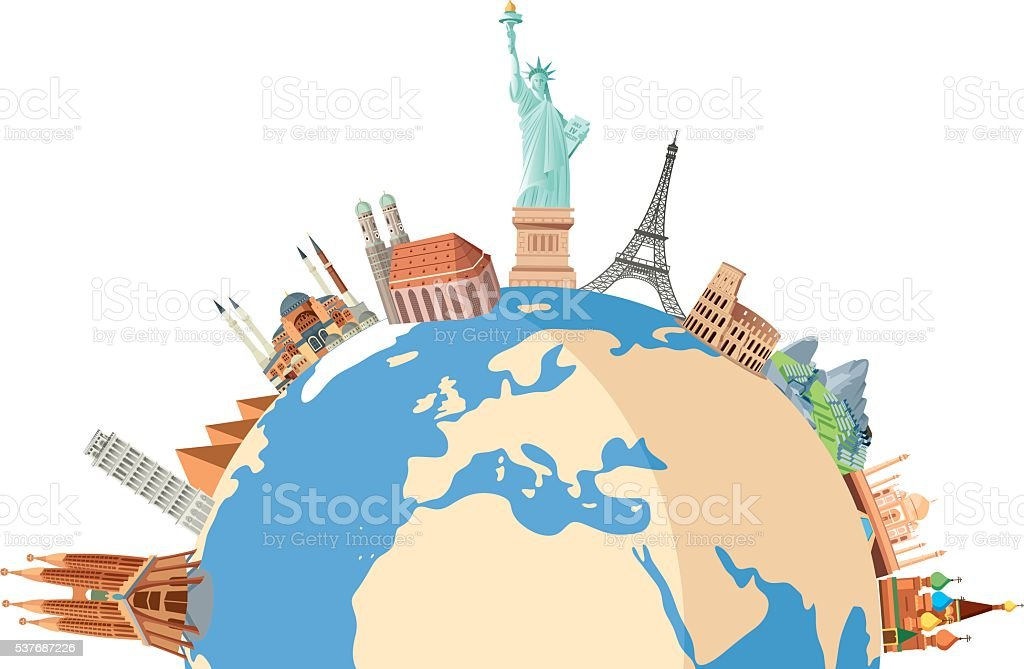 World travel vector art illustration