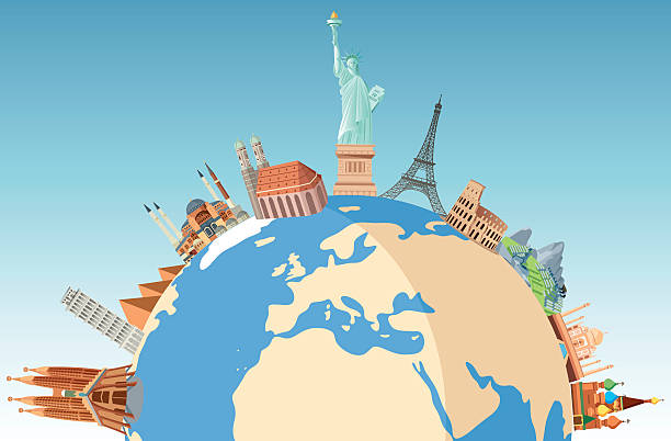 world travel - travel destinations stock illustrations