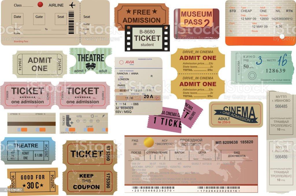 World-traveller-tickets Kollektion – Vektorgrafik