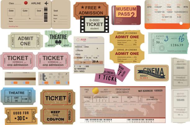 세계 여행자를 티켓 컬레션 - 티켓 스텁 stock illustrations