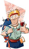 Wine with character. A world traveller with his backpack enjoying a glass of wine. Background and wine class are on a separate layer and can be easily removed.