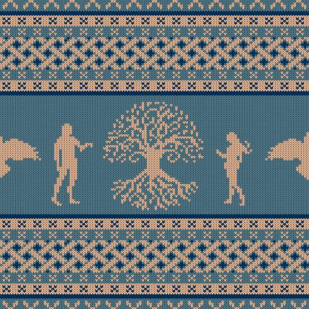 Árbol del mundo, primero personas y volar raven. Hecho punto inconsútil ornamento nacional celta - ilustración de arte vectorial