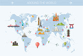 World trip postcard design with world famous landmarks icons