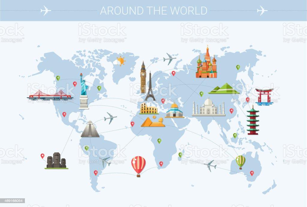 World trip postcard design with world famous landmarks icons vector art illustration
