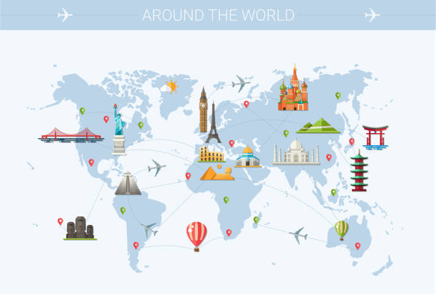 world trip postcard design with world famous landmarks icons - travel destinations stock illustrations