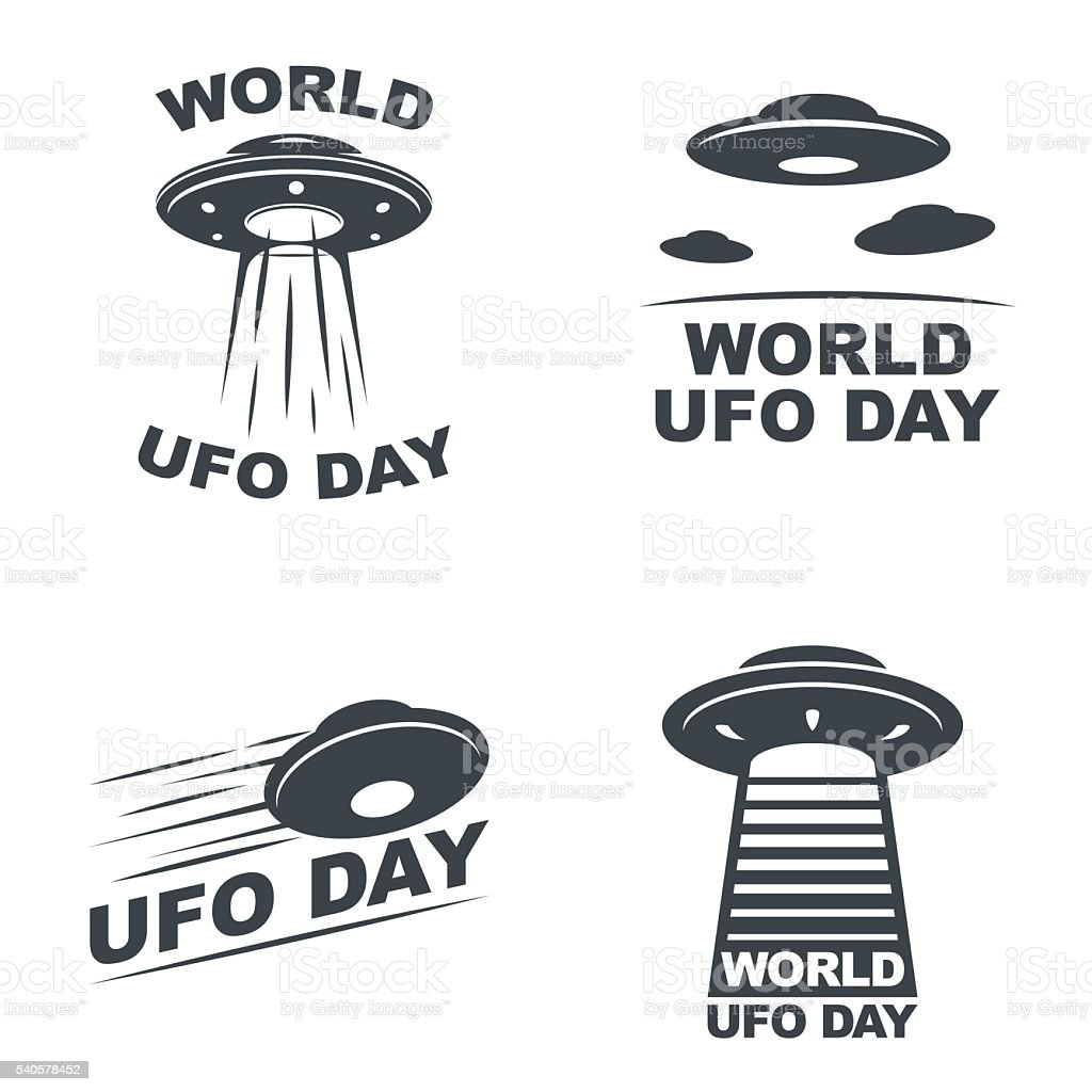 world ufo day World UFO Day. Vector set of four emblems. EPS10 Vector. UFO stock vector