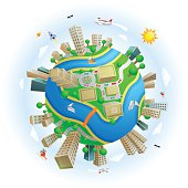 An editable vector illustration of a world with buildings and seperate layers and object groups for easy edit