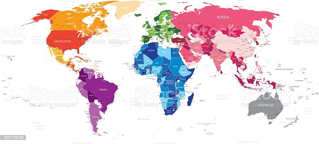 World Vector Map vector art illustration