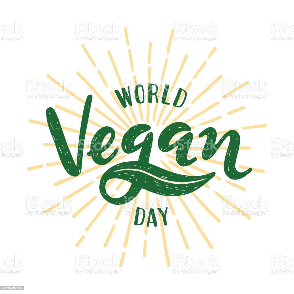 Día Mundial de la vegana la rotulación. Ilustración de vector sobre fondo blanco - ilustración de arte vectorial