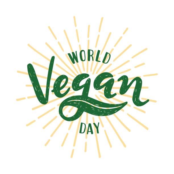 World vegan day Lettering. Vector illustration on white background vector art illustration