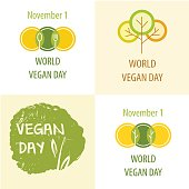 World Vegan Day vector illustration.