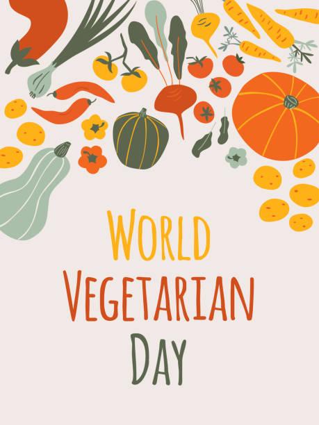 bildbanksillustrationer, clip art samt tecknat material och ikoner med world vegetarisk dag vertikalt kort på ljus bakgrund. - vegetarian