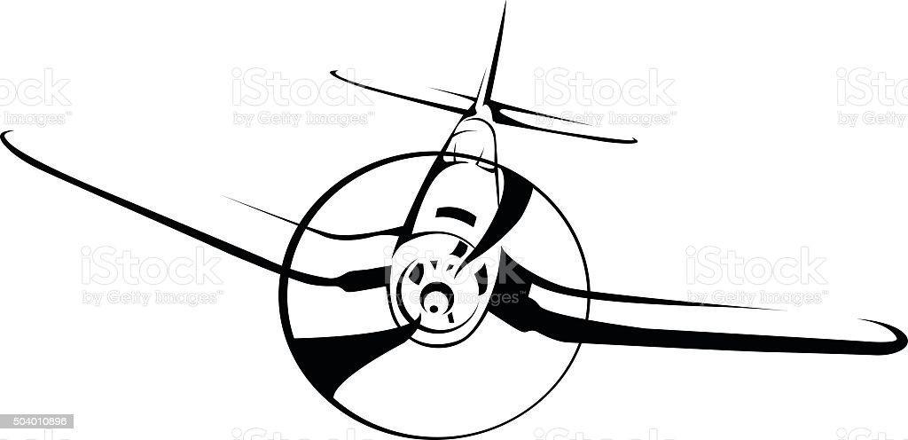 World war 2 fighter airplane vector art illustration