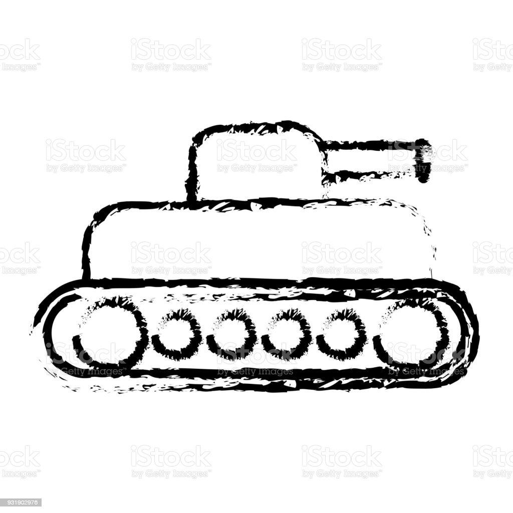world war battle tank aiming cannon to side vector art illustration