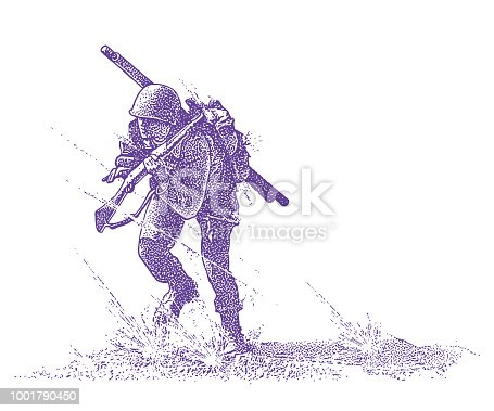 Engraving illustration of a World War II Combat Soldier attacking Omaha beach on D-Day, carrying Bangalore Torpedo