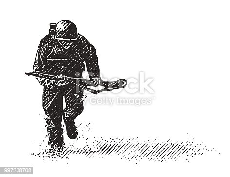 istock World War II Combat Soldier on D-Day 997238708