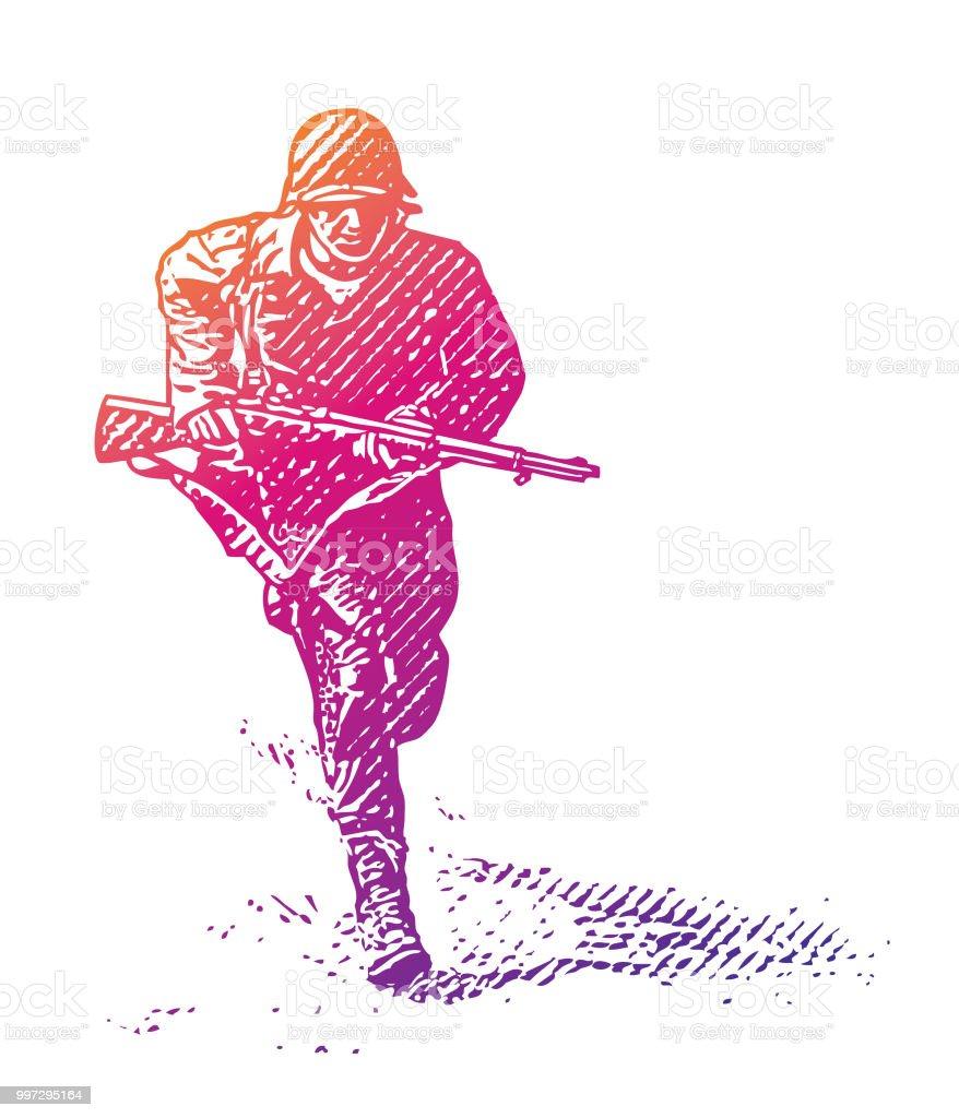 World War Ii Combat Soldier On Dday Stock Illustration