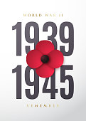 World War II commemorative poster with poppy flower. May 8th. Remembrance day. Vector illustration.