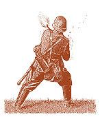 World War II German Soldier Shooting Machine gun