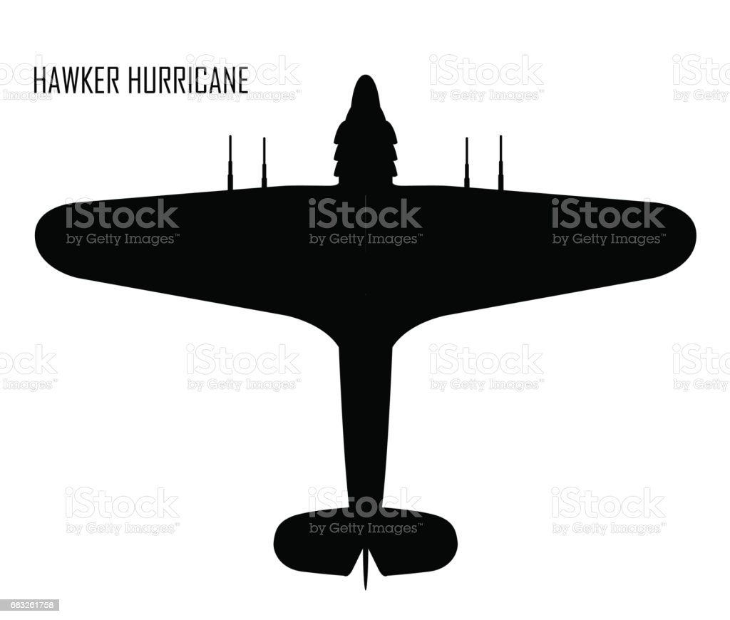 World War II - Hawker Huricane vector art illustration
