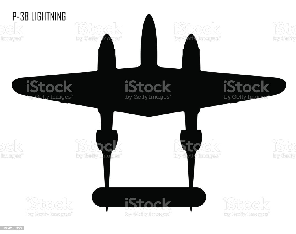 World War Ii Lockheed P 38 Lightning vector art illustration