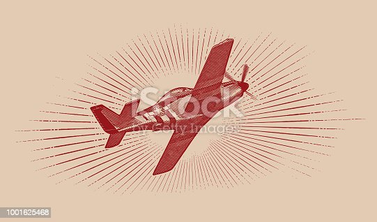 Engraving illustration of a World War II P-51 Mustang Airplane flying with cloudscape background.