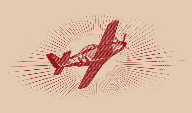 World War II P-51 Mustang Airplane. Engraving illustration of a World War II P-51 Mustang Airplane flying with cloudscape background. air force stock illustrations