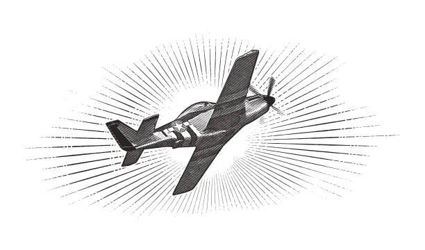 world war ii p-51 mustang airplane. - world war ii stock illustrations, clip art, cartoons, & icons