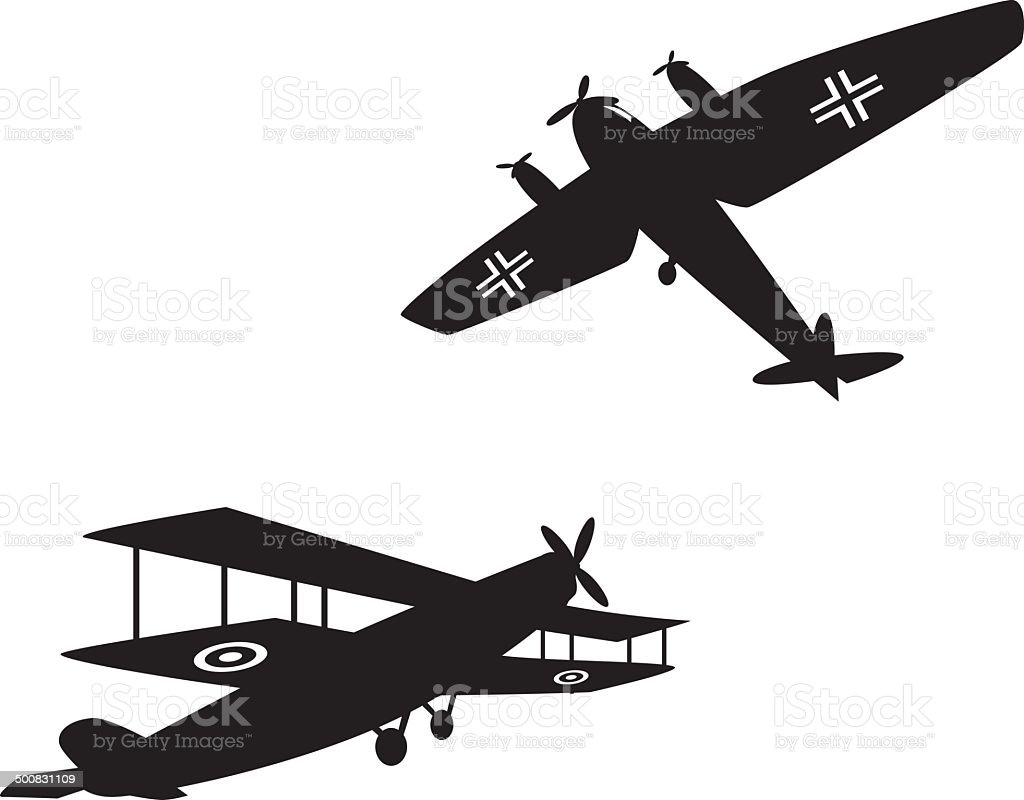 World War One planes vector art illustration