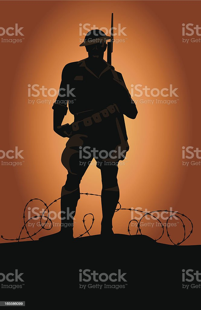 World War Soldier vector art illustration