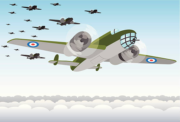 World War Two Bomber Squadron Simple 'from below' Illustration of a squadron of Hampden or Lancaster style WW2 RAF bomber planes. bomber plane stock illustrations