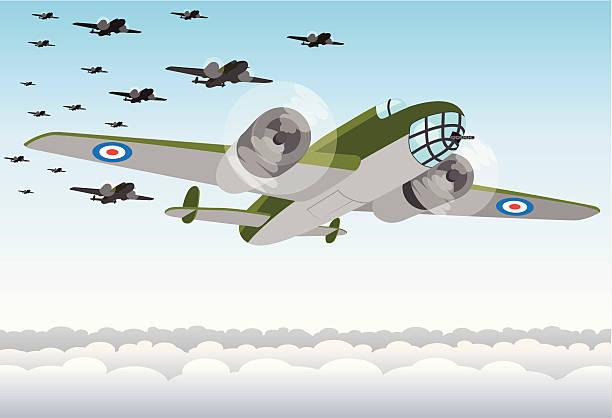 world war two bomber squadron - world war ii stock illustrations, clip art, cartoons, & icons