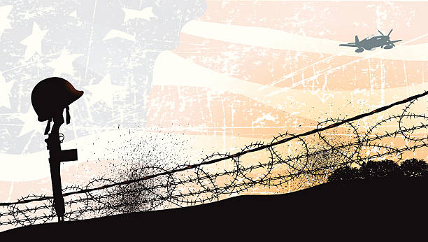 world-war-two-fallen-soldier-and-american-flag-background-vector-id166083124
