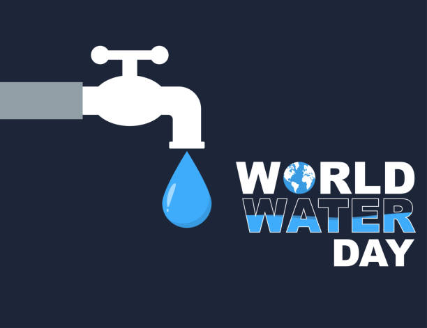 world water day flat style poster design - tap water stock illustrations