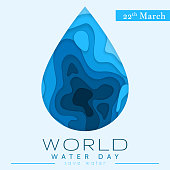 World Water Day in paper cut stile. Abstract waterdrop concept. Save the water. Ecology. Water drop. Vector illustration.