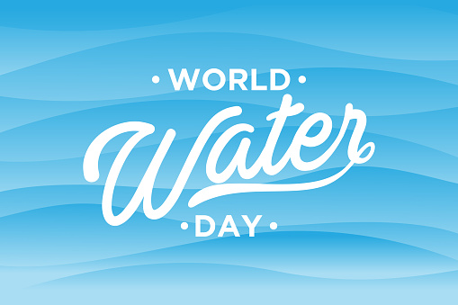 World Water Day letter on abstract wave background
