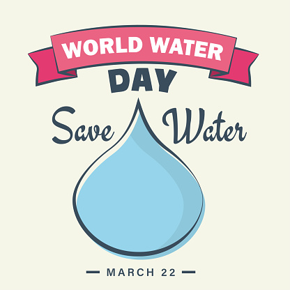 World water day march 22 poster, save water, droplet illustration banner vector