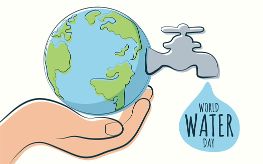 World Water Day poster, Earth and water tap illustration vector