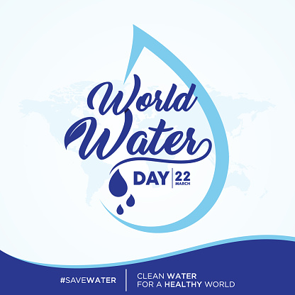 World Water Day quote letter on world map background