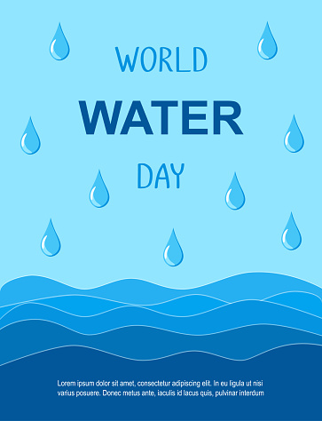 World Water Day vector banner. Waves and drops on the blue background