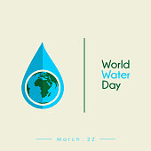 World water day with earth on water droplets vector design
