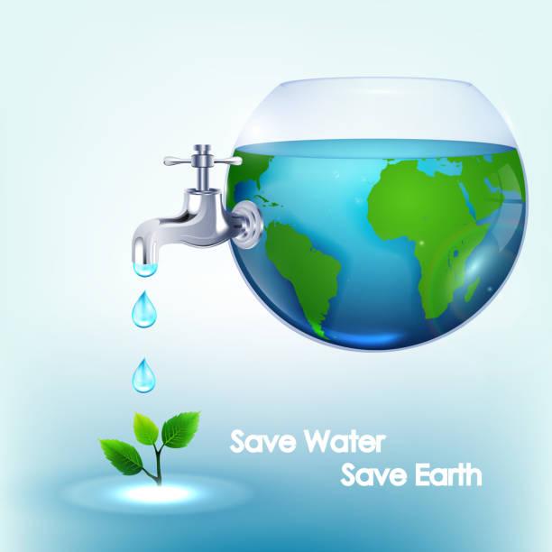 świat wody w misce z zaworami przepłukać liści - tap water stock illustrations