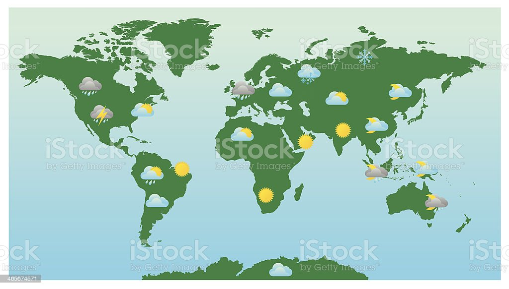 World weather forecast map and icons stock vector art more images world weather forecast map and icons royalty free world weather forecast map and icons stock gumiabroncs Choice Image