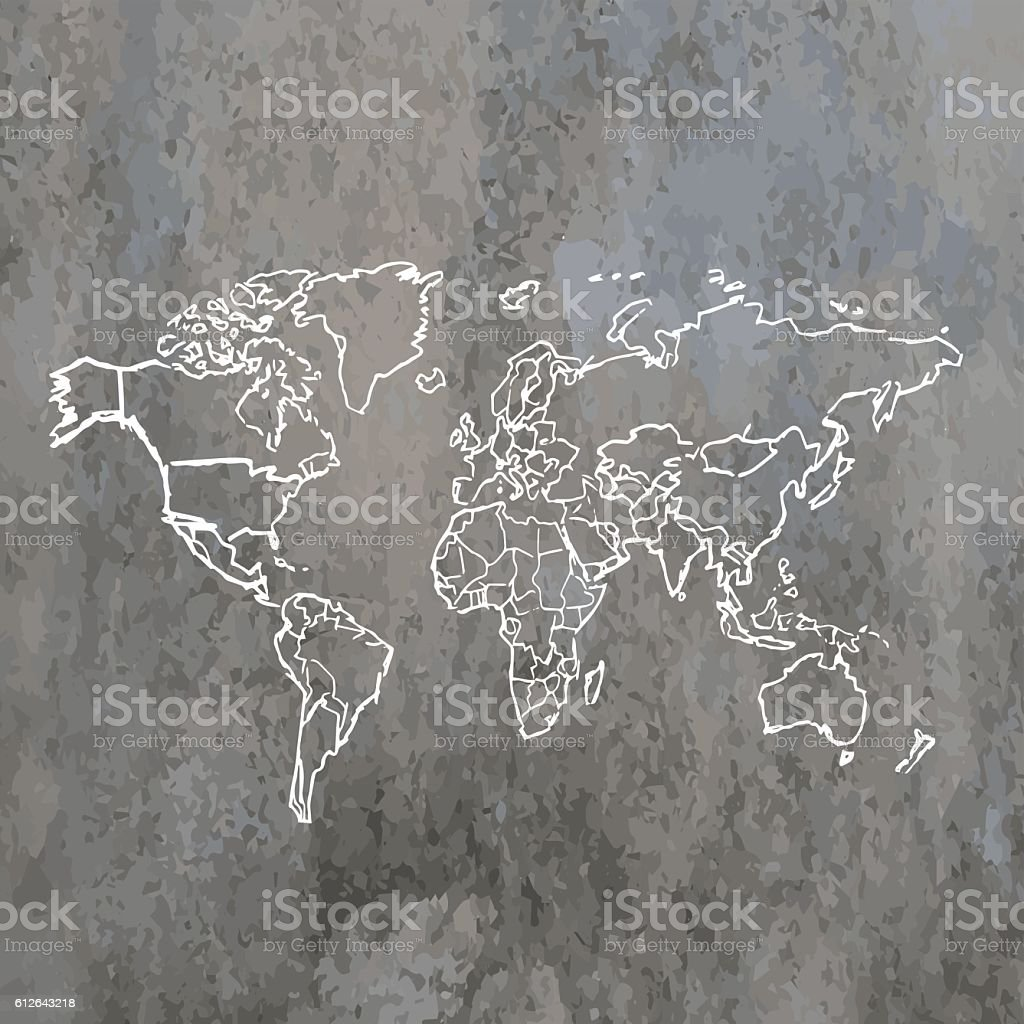 World white map pencil drawn on grunge stone wall background stock world white map pencil drawn on grunge stone wall background royalty free world white map gumiabroncs Gallery