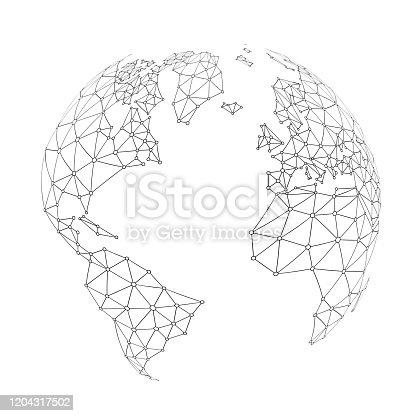 World wide internet network mesh. Social communications background. Earth map. Vector illustration