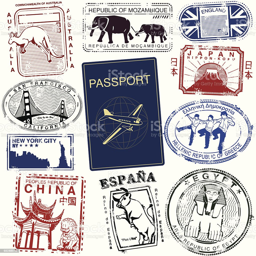 World Wide Travel Stamps vector art illustration