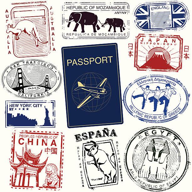 ilustraciones, imágenes clip art, dibujos animados e iconos de stock de sellos de viajes internacionales - viaje a reino unido