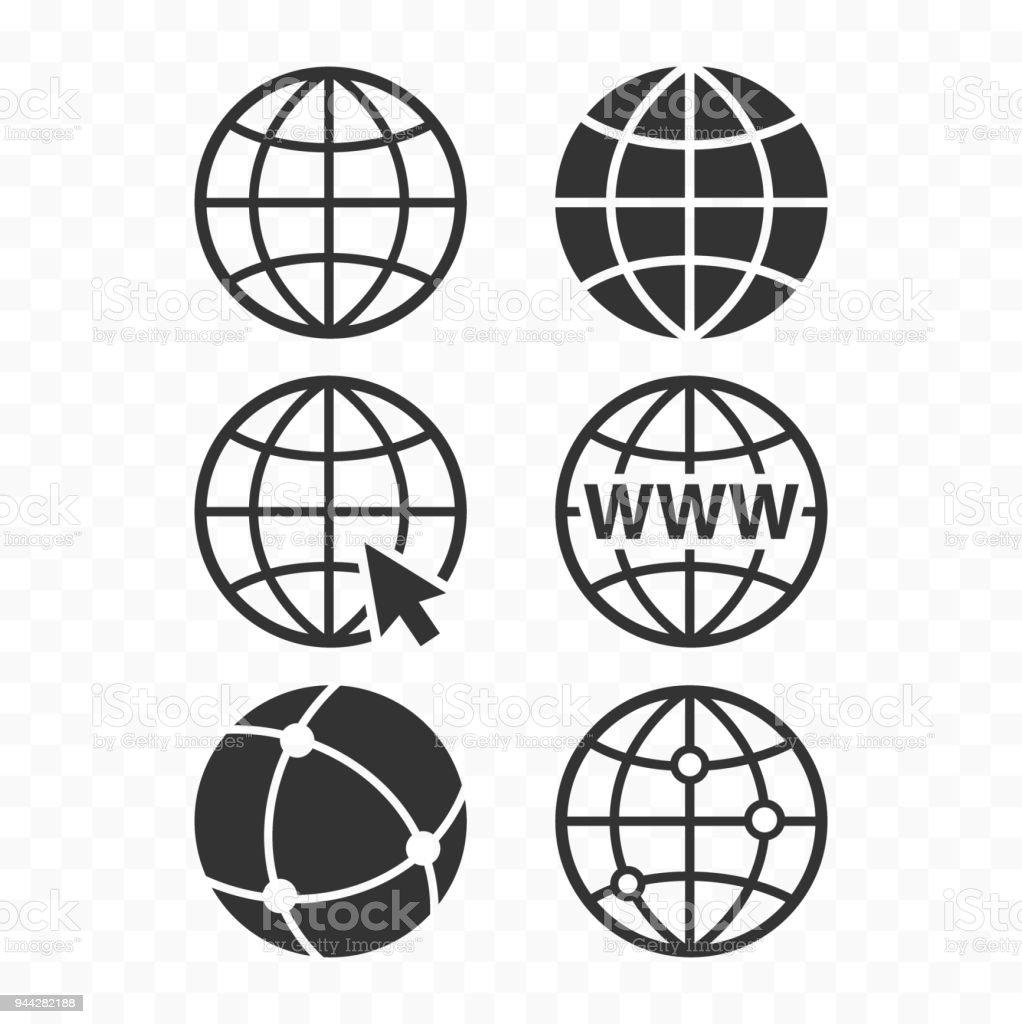 World Wide Web-Konzept-Globus-Icon-Set. Planet Web Symbolsatz. Globus-Icons für Websites. Lizenzfreies world wide webkonzeptglobusiconset planet web symbolsatz globusicons für websites stock vektor art und mehr bilder von breit