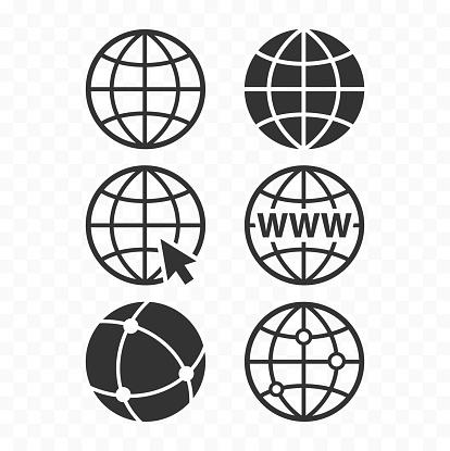 World wide web concept globe icon set. Planet web symbol set. Globe icons for websites. clipart