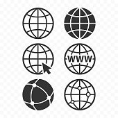 World wide web concept globe icon set. Planet web symbol set. Globe icons for websites.